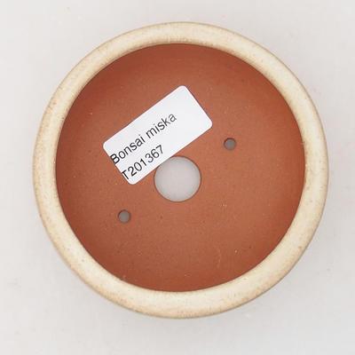 Ceramic bonsai bowl 9 x 9 x 4.5 cm, beige color - 3