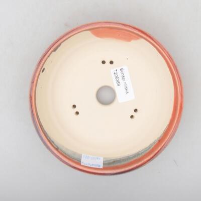 Ceramic bonsai bowl 15 x 15 x 4 cm, burgundy color - 3