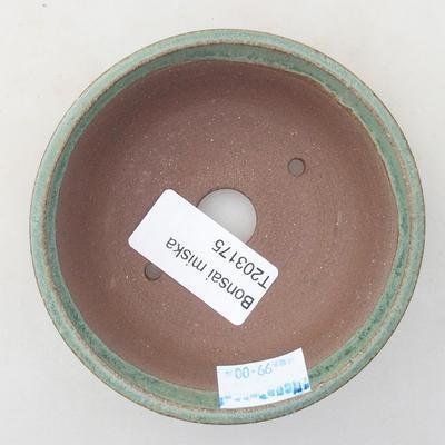 Ceramic bonsai bowl 9.5 x 9.5 x 2.5 cm, color green - 3