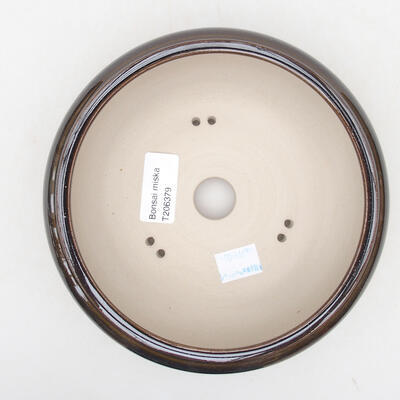 Ceramic bonsai bowl 15 x 15 x 6 cm, color brown - 3
