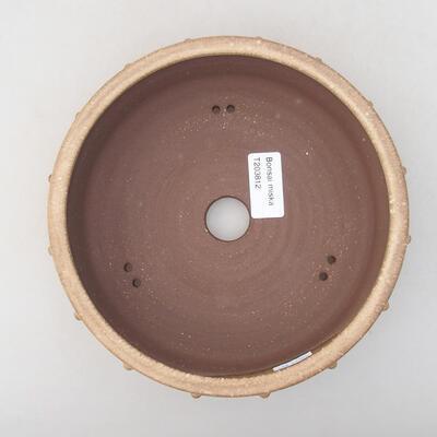 Ceramic bonsai bowl 18 x 18 x 5 cm, beige color - 3