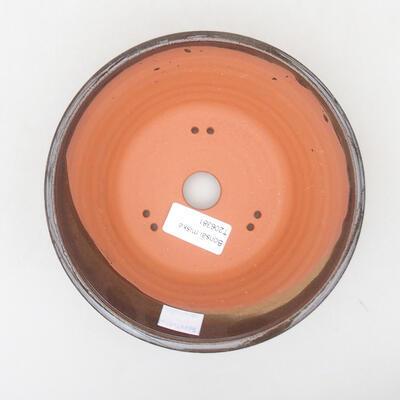 Ceramic bonsai bowl 16.5 x 16.5 x 6 cm, brown color - 3