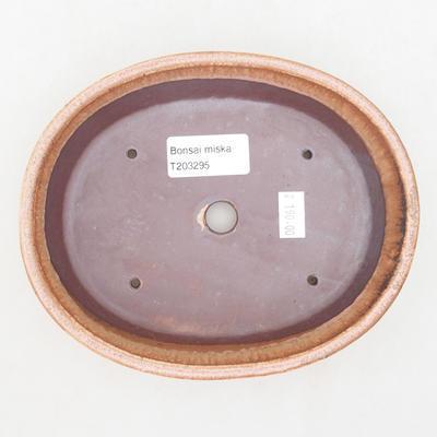 Ceramic bonsai bowl 17 x 14 x 4 cm, color brown-pink - 3