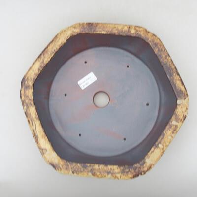 Ceramic bonsai bowl 31 x 28 x 7.5 cm, color yellow-brown - 3