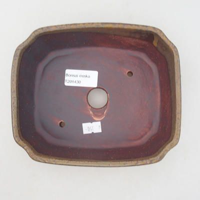 Ceramic bonsai bowl 17 x 14.5 x 6 cm, brown color - 3