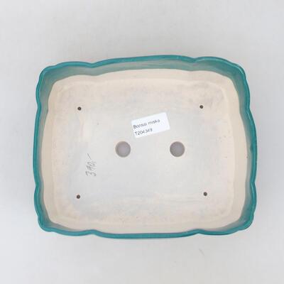 Ceramic bonsai bowl 19.5 x 16.5 x 7 cm, color green - 3