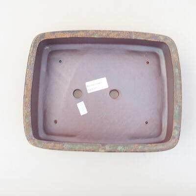 Ceramic bonsai bowl 25.5 x 19 x 6 cm, color brown-green - 3