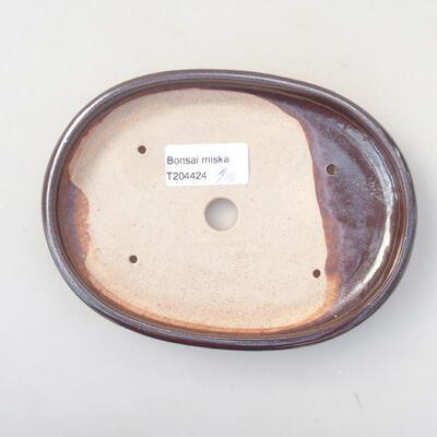 Ceramic bonsai bowl 16 x 12 x 2 cm, brown color - 3