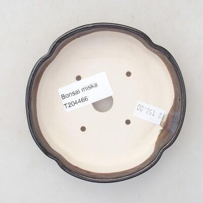Ceramic bonsai bowl 11 x 11 x 2.5 cm, brown color - 3