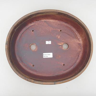Ceramic bonsai bowl 32 x 27.5 x 7.5 cm, brown color - 3