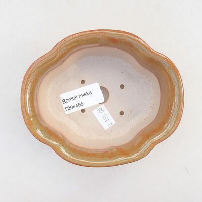 Ceramic bonsai bowl 13 x 10.5 x 5 cm, brown color - 3