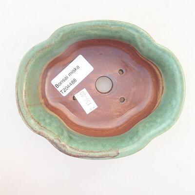 Ceramic bonsai bowl 13 x 11 x 5.5 cm, color green - 3