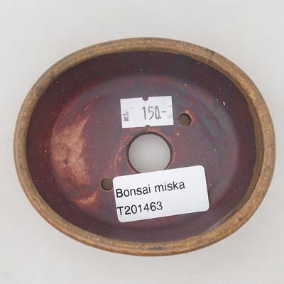 Ceramic bonsai bowl 9.5 x 8.5 x 3.5 cm, brown color - 3