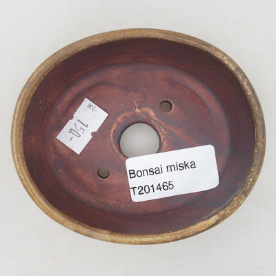 Ceramic bonsai bowl 9.5 x 8.5 x 3.5 cm, color brown-green - 3