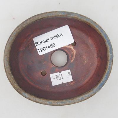 Ceramic bonsai bowl 9.5 x 8.5 x 3.5 cm, brown-blue color - 3