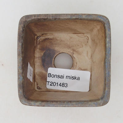 Ceramic bonsai bowl 6.5 x 6.5 x 5 cm, brown-blue color - 3