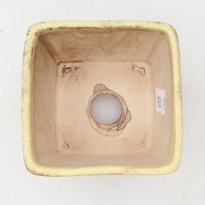 Ceramic bonsai bowl 6.5 x 6.5 x 5 cm, color brown-yellow - 3