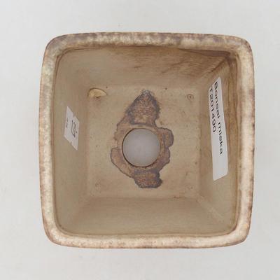 Ceramic bonsai bowl 7 x 7 x 7 cm, color beige - 3