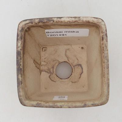 Ceramic bonsai bowl 7 x 7 x 7 cm, color brown-green - 3