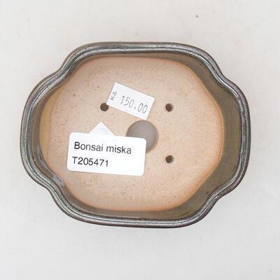 Ceramic bonsai bowl 10 x 8.5 x 3 cm, color green - 3