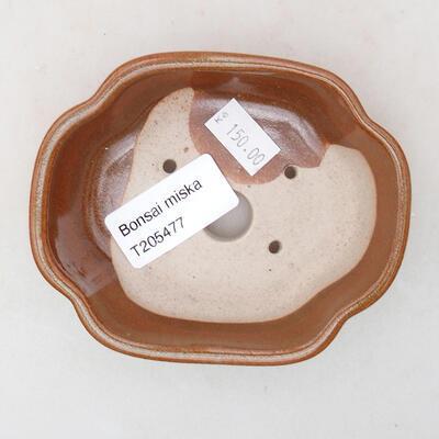 Ceramic bonsai bowl 10 x 8.5 x 3 cm, brown color - 3