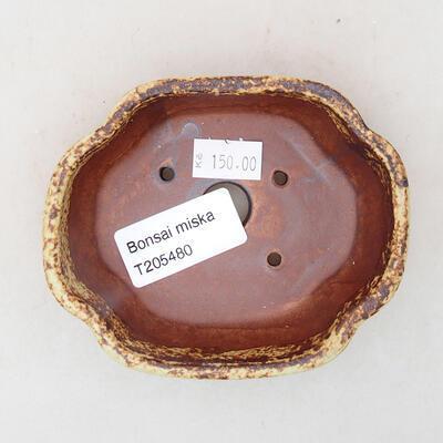Ceramic bonsai bowl 10 x 8.5 x 3 cm, color brown-yellow - 3