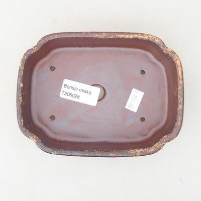 Ceramic bonsai bowl 15 x 11 x 4 cm, color brown-yellow - 3
