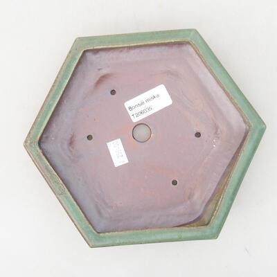 Ceramic bonsai bowl 18 x 16 x 3.5 cm, color green - 3