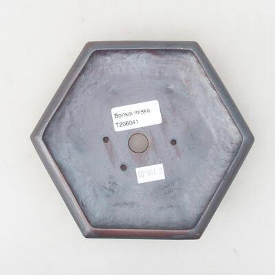 Ceramic bonsai bowl 15.5 x 14 x 3.5 cm, metal color - 3