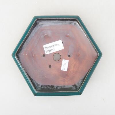 Ceramic bonsai bowl 15.5 x 14 x 3.5 cm, color green - 3