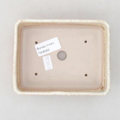 Ceramic bonsai bowl 13.5 x 11 x 3.5 cm, beige color - 3