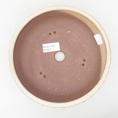 Ceramic bonsai bowl 19.5 x 19.5 x 5.5 cm, beige color - 3