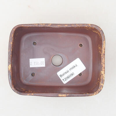 Ceramic bonsai bowl 13 x 10 x 5.5 cm, color brown-yellow - 3