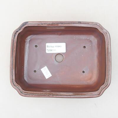 Ceramic bonsai bowl 17 x 13 x 4.5 cm, brown color - 3