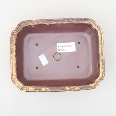 Ceramic bonsai bowl 17 x 13 x 4.5 cm, color brown-yellow - 3