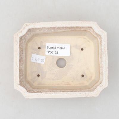 Ceramic bonsai bowl 12.5 x 10 x 4 cm, beige color - 3