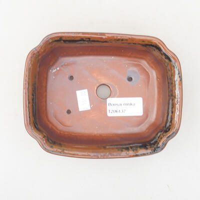 Ceramic bonsai bowl 15 x 12 x 4 cm, brown-black color - 3