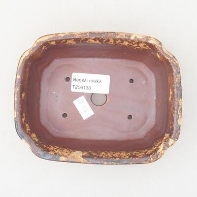 Ceramic bonsai bowl 15 x 12 x 4 cm, color brown-yellow - 3