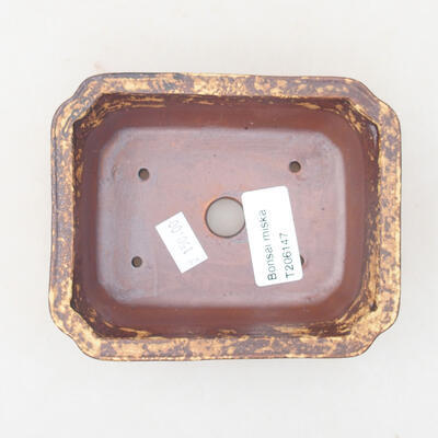 Ceramic bonsai bowl 12 x 9.5 x 4 cm, color brown-yellow - 3