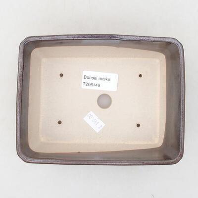 Ceramic bonsai bowl 15 x 11.5 x 5.5 cm, brown color - 3
