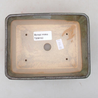 Ceramic bonsai bowl 15 x 11.5 x 5.5 cm, color green - 3