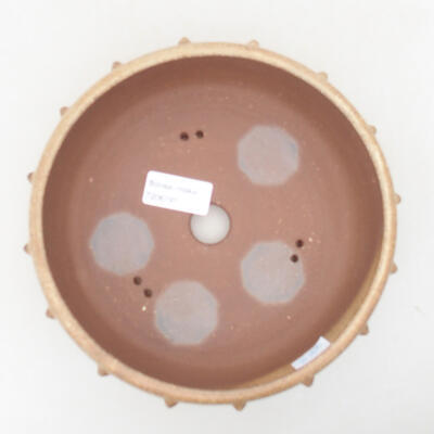 Ceramic bonsai bowl 18 x 18 x 6.5 cm, beige color - 3