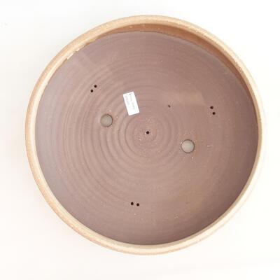 Ceramic bonsai bowl 37.5 x 37.5 x 9 cm, beige color - 3