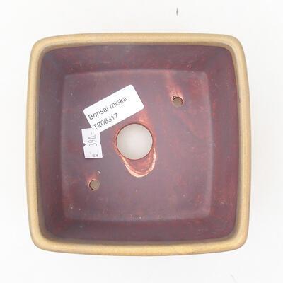 Ceramic bonsai bowl 12 x 12 x 8 cm, color brown - 3