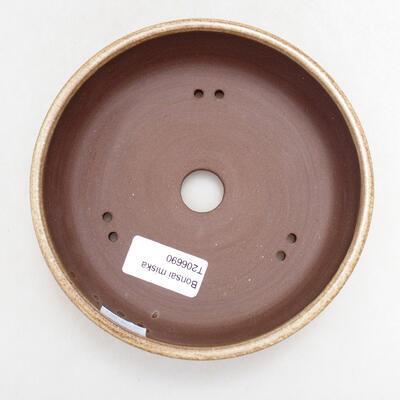 Ceramic bonsai bowl 15 x 15 x 4.5 cm, beige color - 3