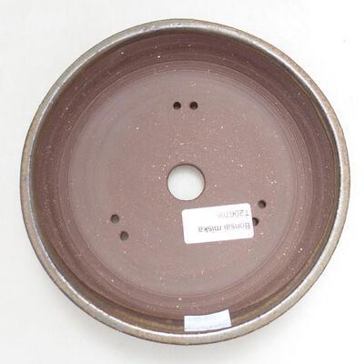 Ceramic bonsai bowl 16.5 x 16.5 x 3.5 cm, brown color - 3