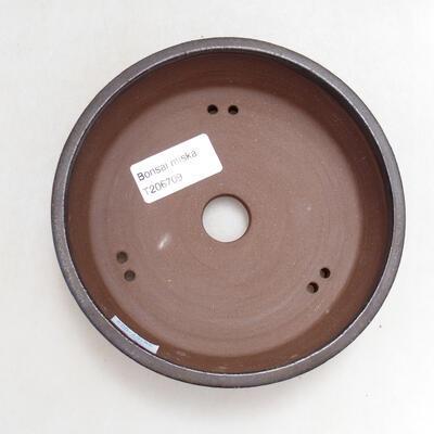 Ceramic bonsai bowl 14 x 14 x 4 cm, color brown - 3