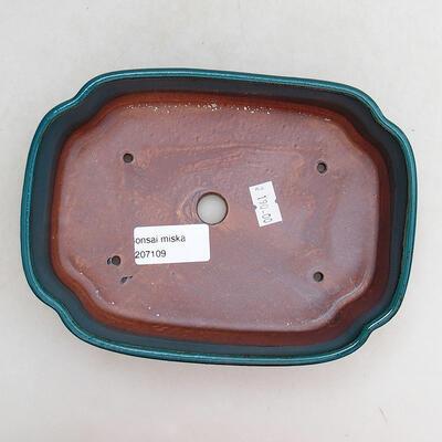 Ceramic bonsai bowl 17.5 x 13.5 x 4.5 cm, color green - 3