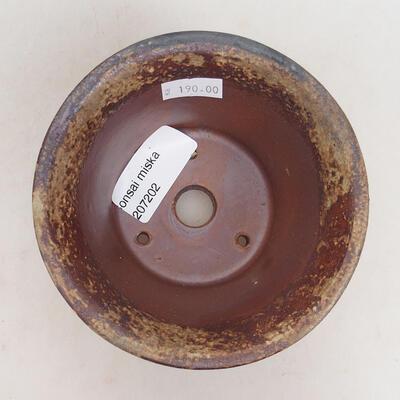 Ceramic bonsai bowl 11 x 11 x 7 cm, color brown-green - 3