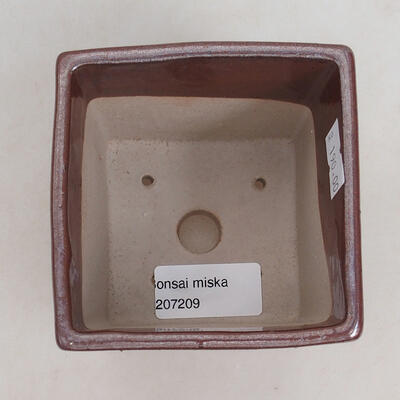 Ceramic bonsai bowl 9 x 9 x 8.5 cm, brown color - 3